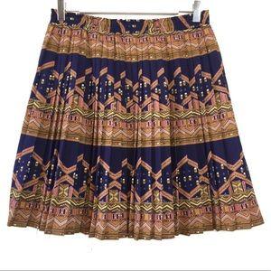Edme & Esyllte Navy Tan Geometric Pleated Skirt M
